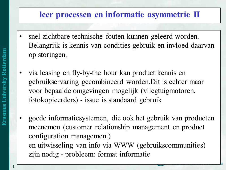 leer processen en informatie asymmetrie II