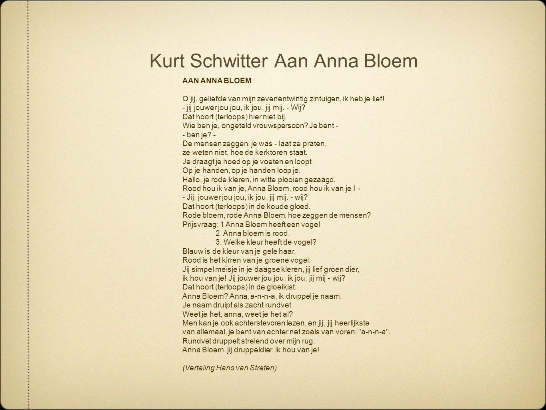 Kurt Schwitter Aan Anna Bloem