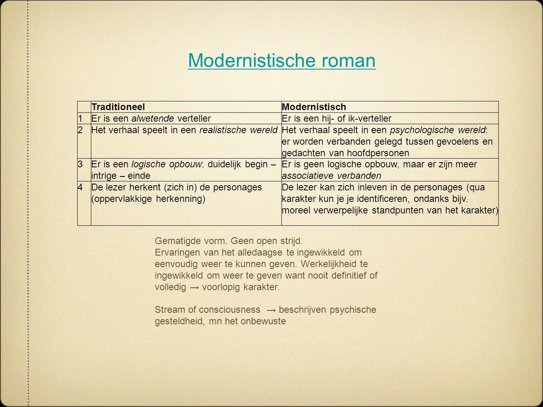 Modernistische roman Traditioneel Modernistisch 1