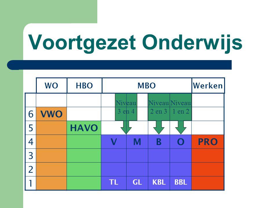 Voortgezet Onderwijs 6 VWO 5 HAVO 4 V M B O PRO 3 2 1 WO HBO MBO