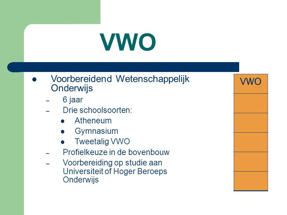 VWO VWO Voorbereidend Wetenschappelijk Onderwijs 6 jaar