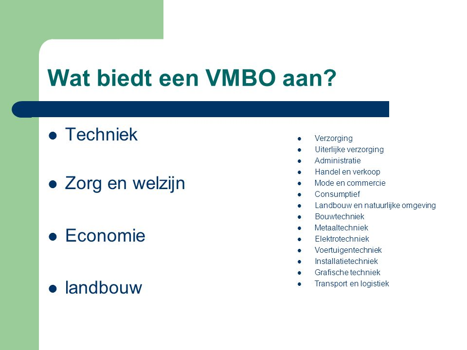 Wat biedt een VMBO aan Techniek Zorg en welzijn Economie landbouw