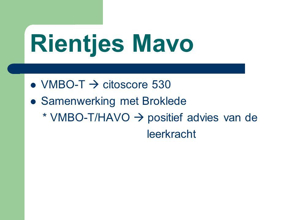 Rientjes Mavo VMBO-T  citoscore 530 Samenwerking met Broklede