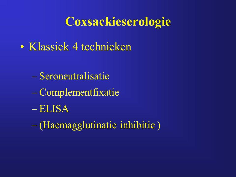 Coxsackieserologie Klassiek 4 technieken Seroneutralisatie