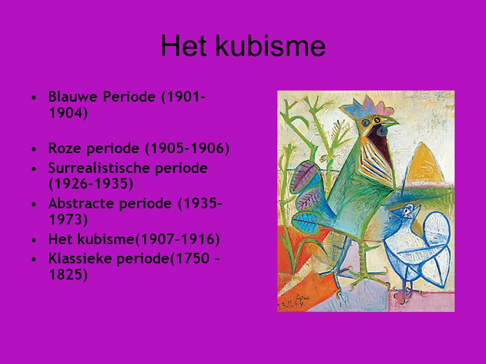 Het kubisme Blauwe Periode (1901-1904) Roze periode (1905-1906)