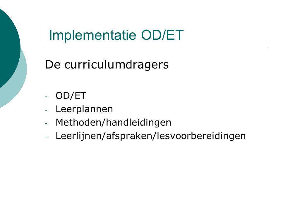 Implementatie OD/ET De curriculumdragers OD/ET Leerplannen
