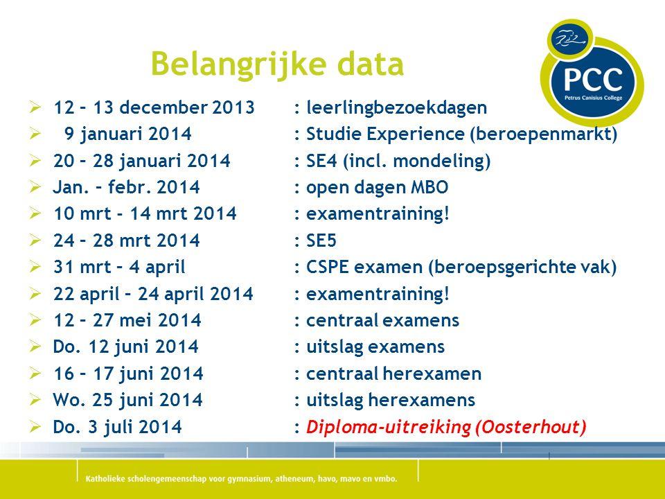 Belangrijke data 12 – 13 december 2013 : leerlingbezoekdagen