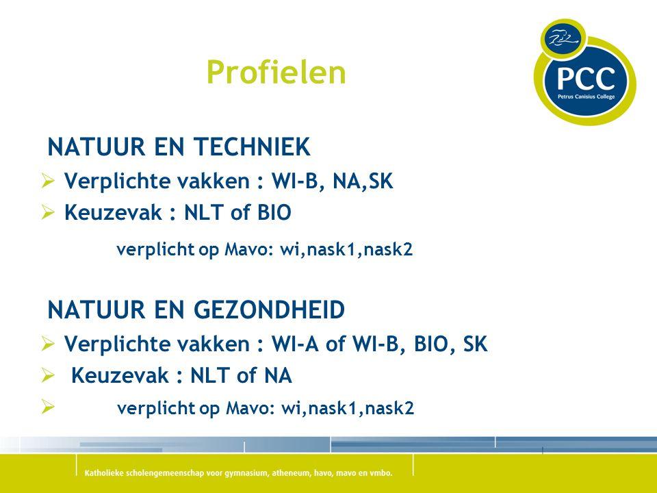 Profielen NATUUR EN TECHNIEK verplicht op Mavo: wi,nask1,nask2