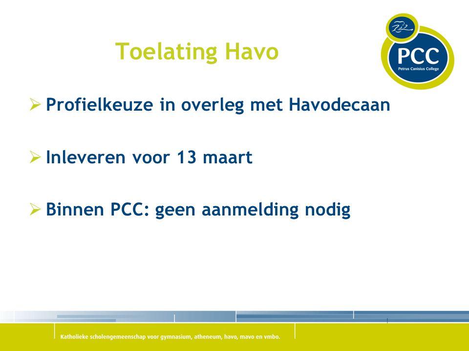 Toelating Havo Profielkeuze in overleg met Havodecaan