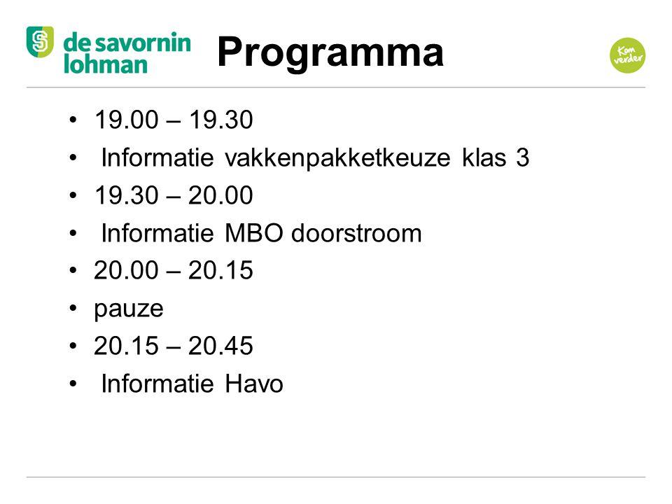 Programma 19.00 – 19.30 Informatie vakkenpakketkeuze klas 3