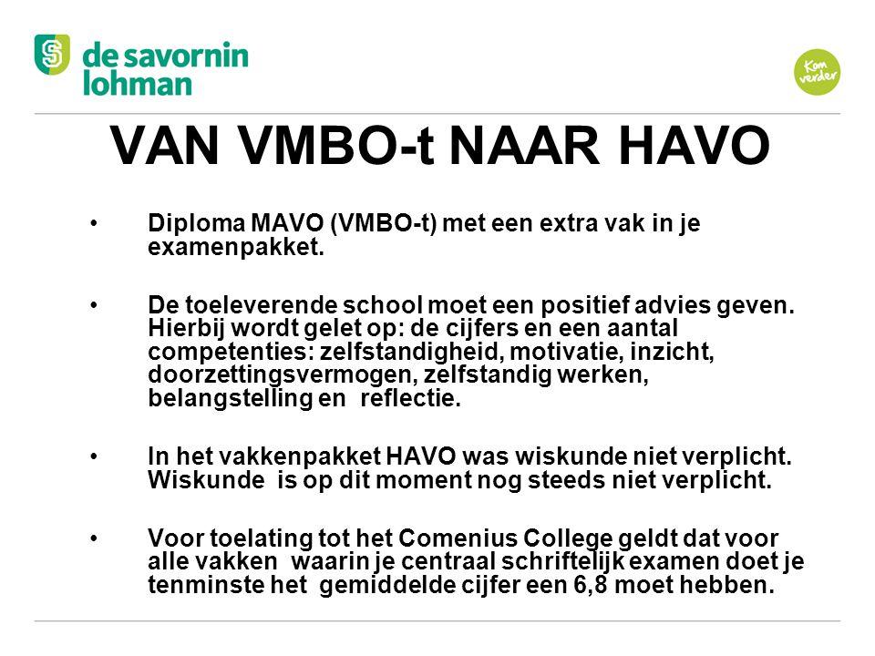 VAN VMBO-t NAAR HAVO Diploma MAVO (VMBO-t) met een extra vak in je examenpakket.