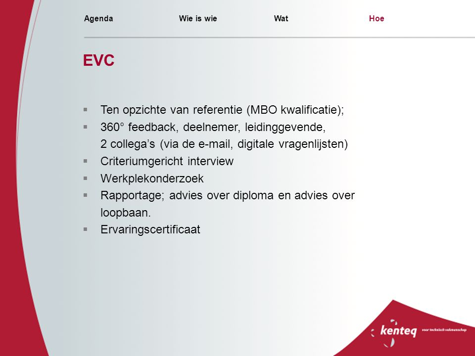 EVC Ten opzichte van referentie (MBO kwalificatie);