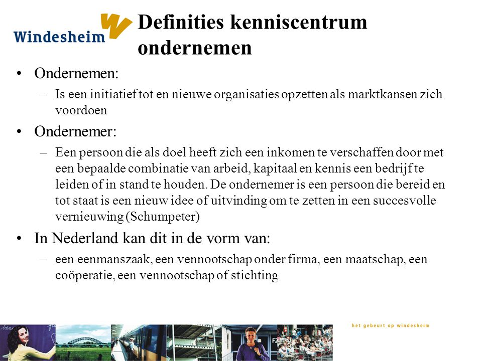 Definities kenniscentrum ondernemen