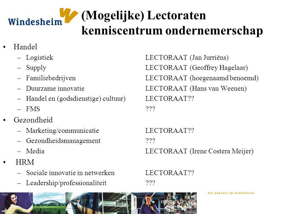 (Mogelijke) Lectoraten kenniscentrum ondernemerschap