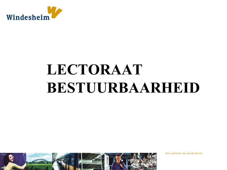 LECTORAAT BESTUURBAARHEID