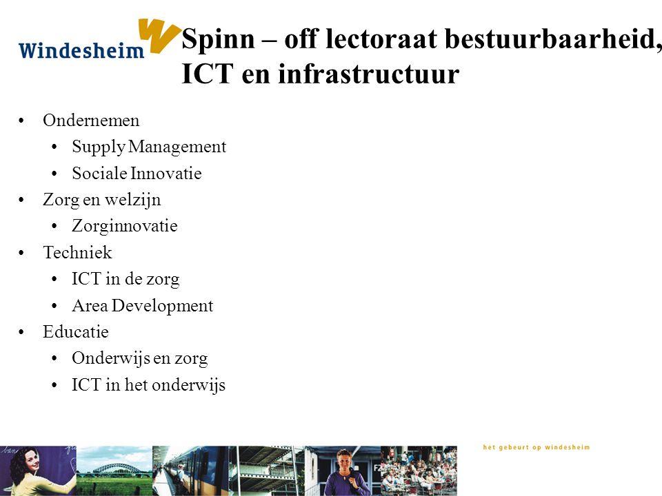 Spinn – off lectoraat bestuurbaarheid, ICT en infrastructuur