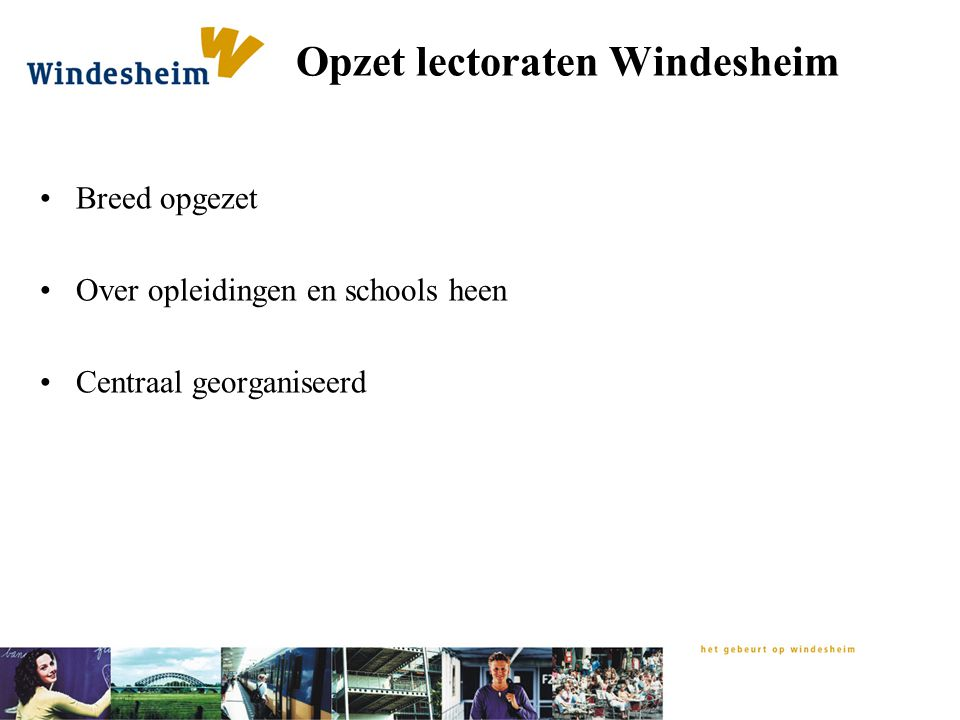 Opzet lectoraten Windesheim