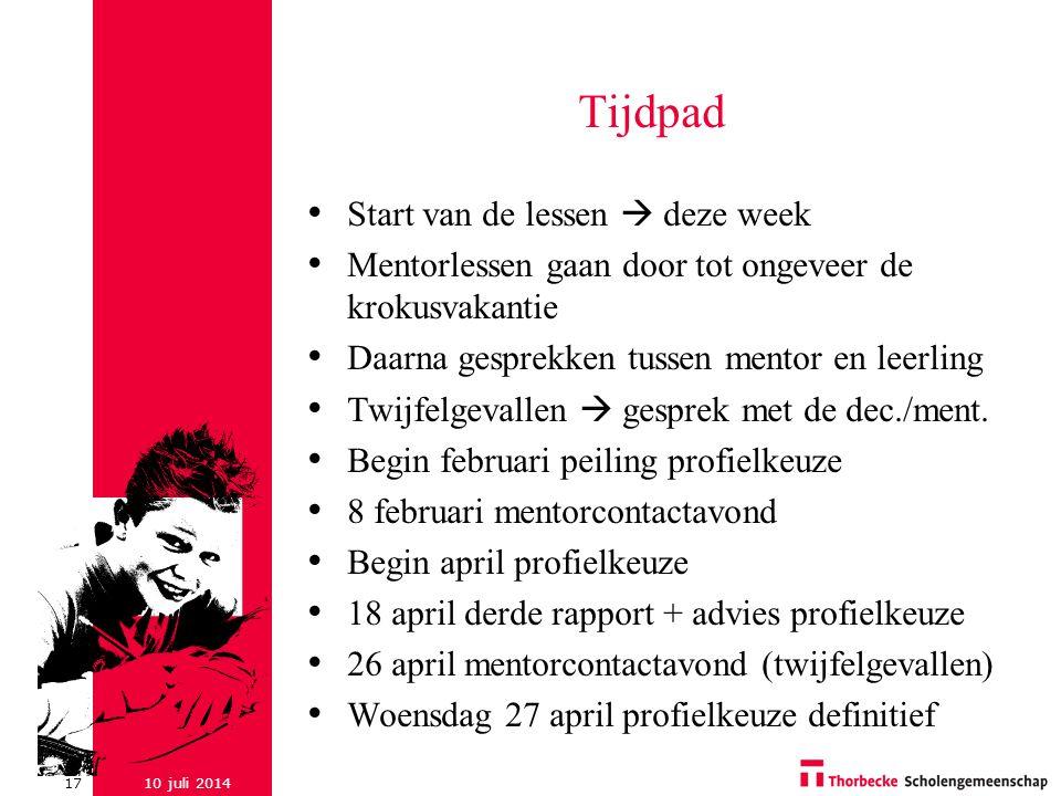 Tijdpad Start van de lessen  deze week
