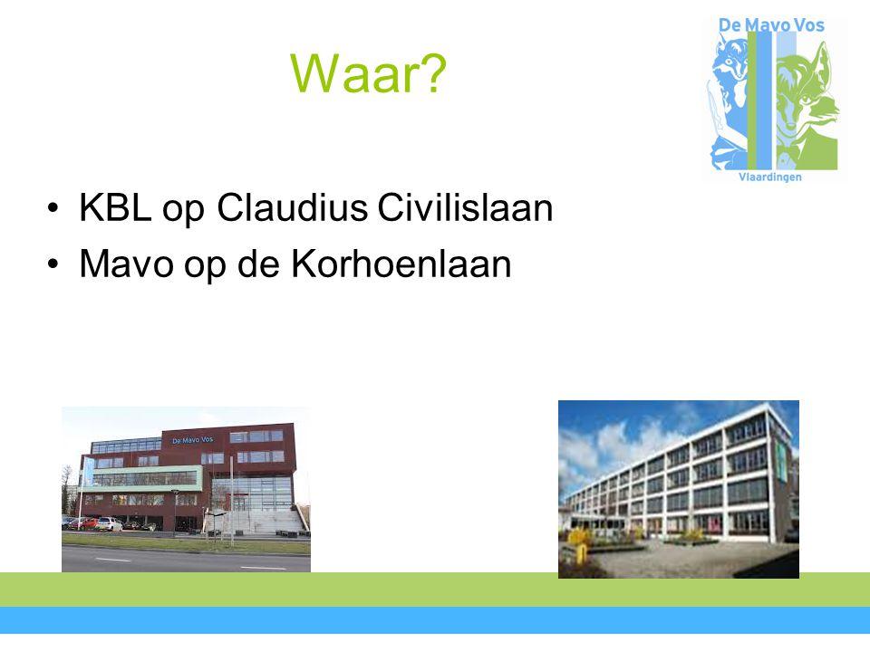Waar KBL op Claudius Civilislaan Mavo op de Korhoenlaan