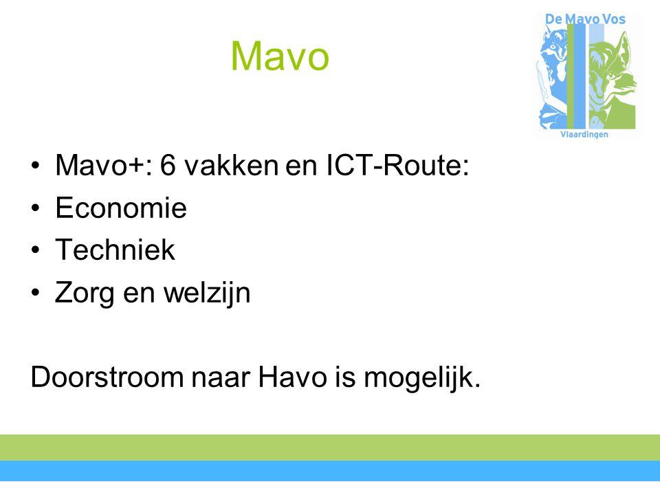 Mavo Mavo+: 6 vakken en ICT-Route: Economie Techniek Zorg en welzijn