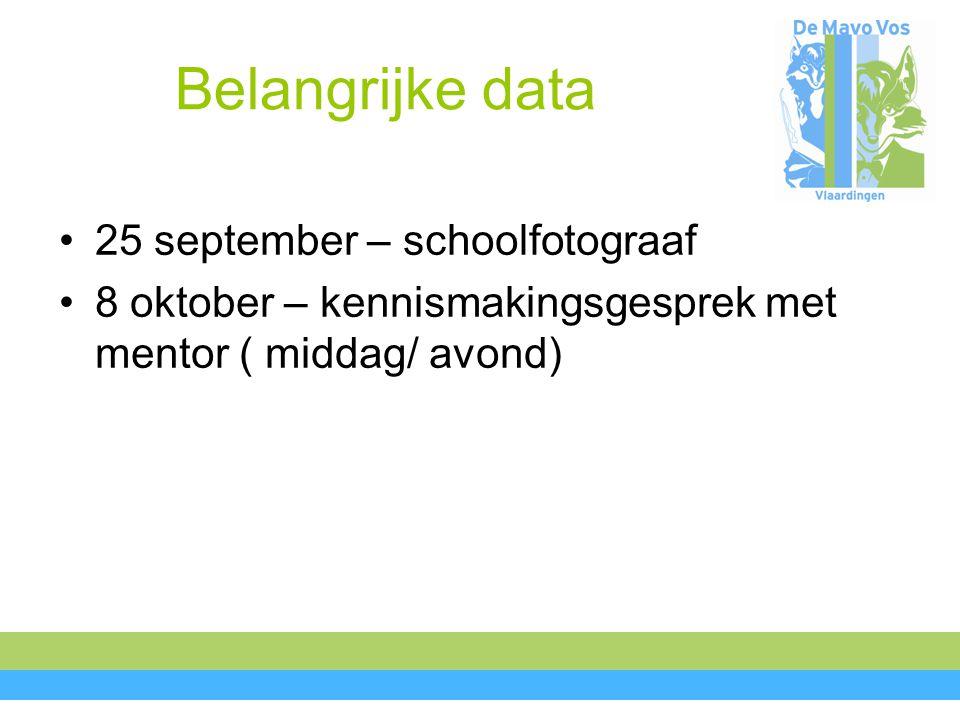 Belangrijke data 25 september – schoolfotograaf