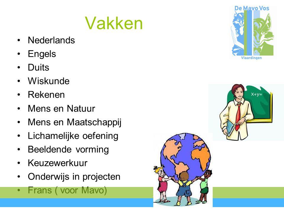 Vakken Nederlands Engels Duits Wiskunde Rekenen Mens en Natuur