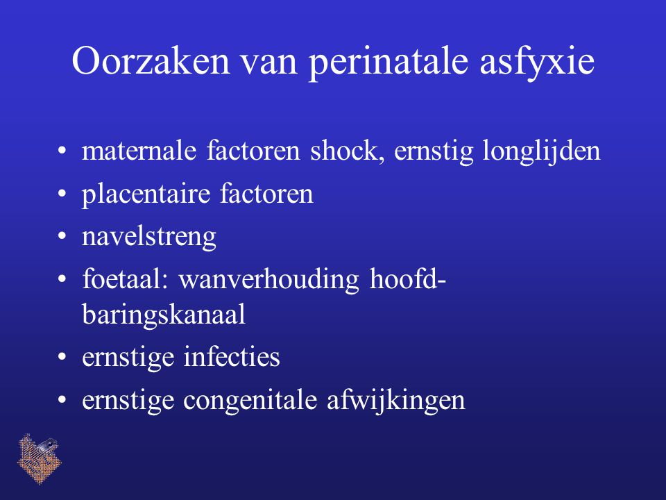 Oorzaken van perinatale asfyxie