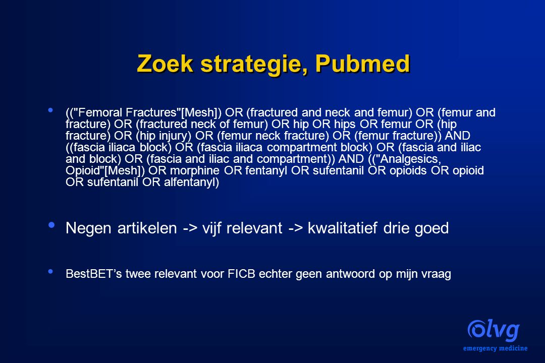 Zoek strategie, Pubmed