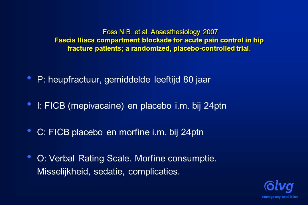 Fascia Iliaca compartment blockade for acute pain control in hip