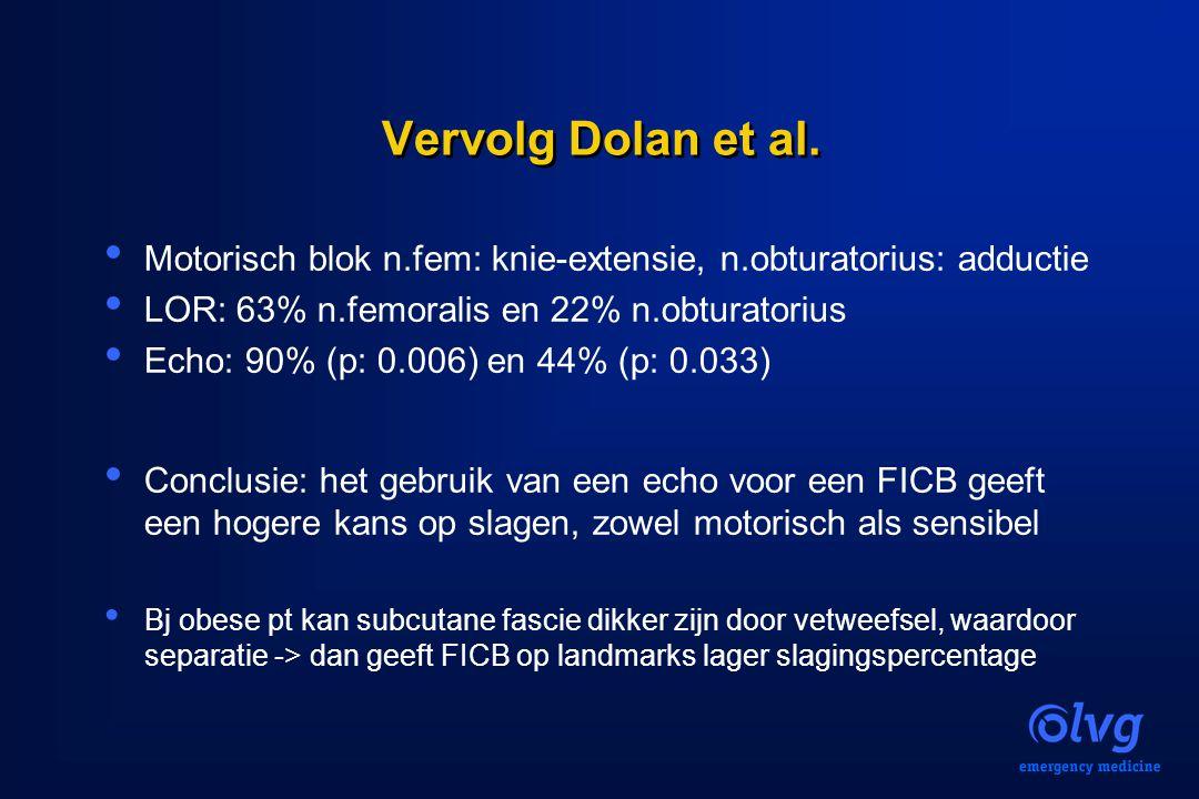 Vervolg Dolan et al. Motorisch blok n.fem: knie-extensie, n.obturatorius: adductie. LOR: 63% n.femoralis en 22% n.obturatorius.