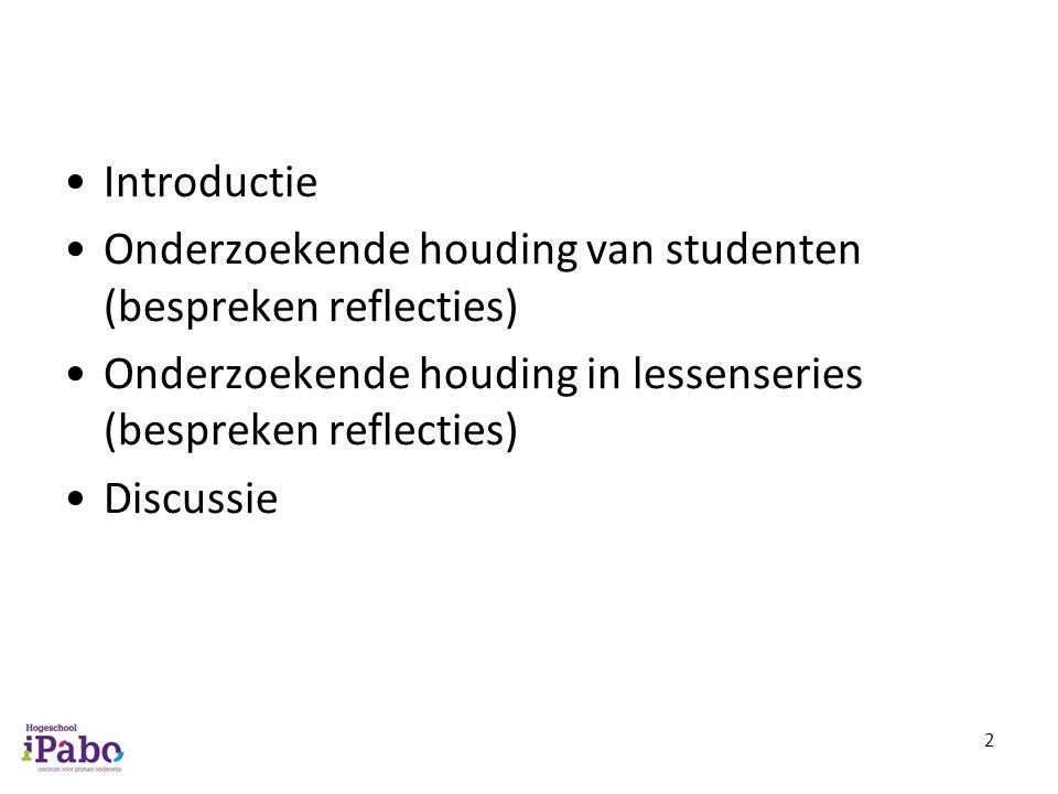 Introductie Onderzoekende houding van studenten (bespreken reflecties) Onderzoekende houding in lessenseries (bespreken reflecties)
