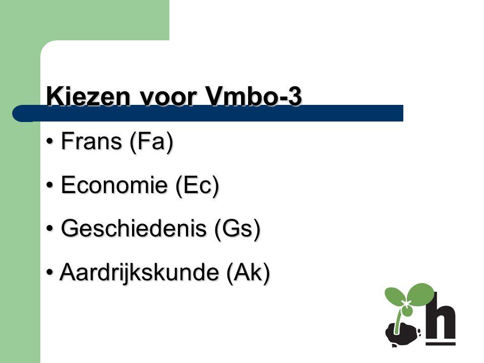 Kiezen voor Vmbo-3 Frans (Fa) Economie (Ec) Geschiedenis (Gs)