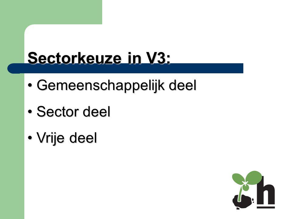 Sectorkeuze in V3: Gemeenschappelijk deel Sector deel Vrije deel