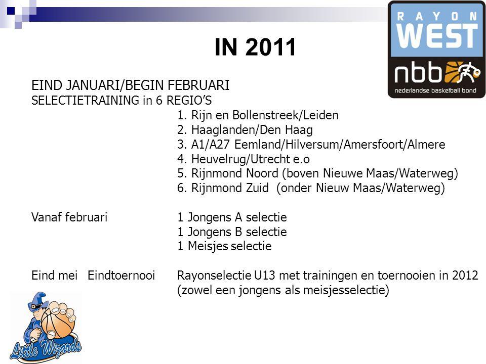 IN 2011 EIND JANUARI/BEGIN FEBRUARI SELECTIETRAINING in 6 REGIO'S