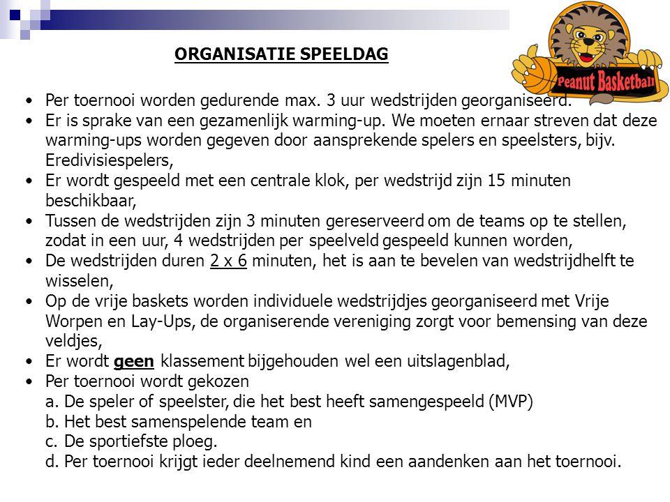 ORGANISATIE SPEELDAG Per toernooi worden gedurende max. 3 uur wedstrijden georganiseerd.