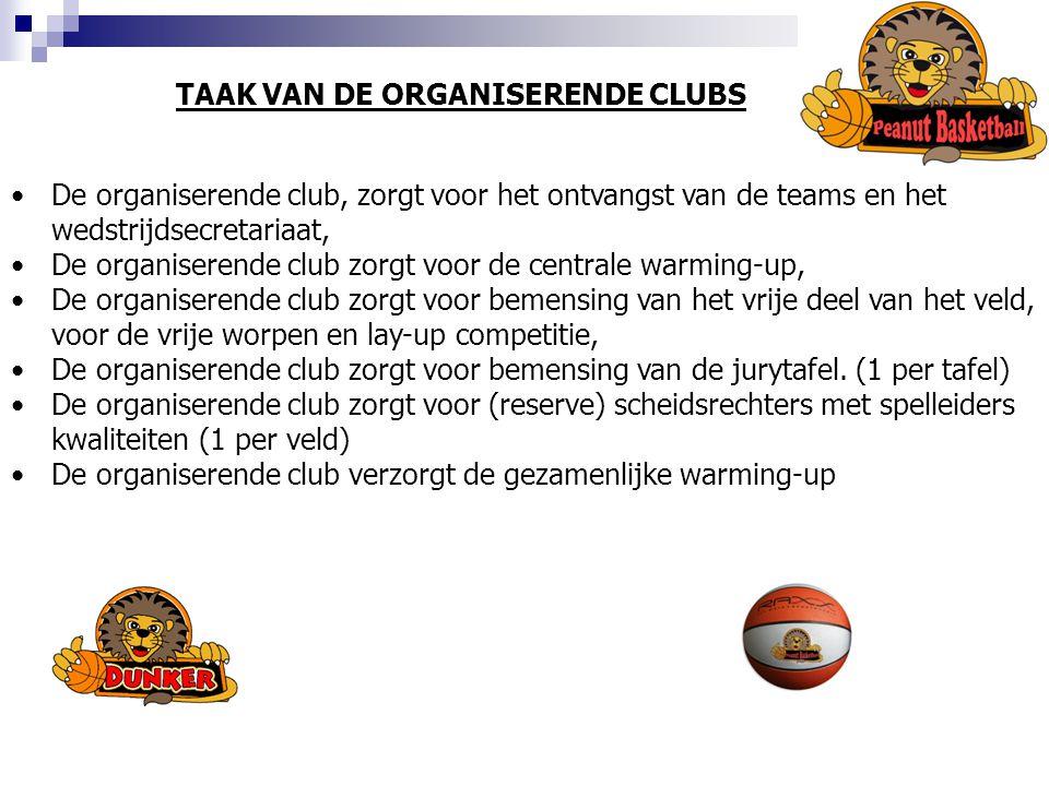TAAK VAN DE ORGANISERENDE CLUBS