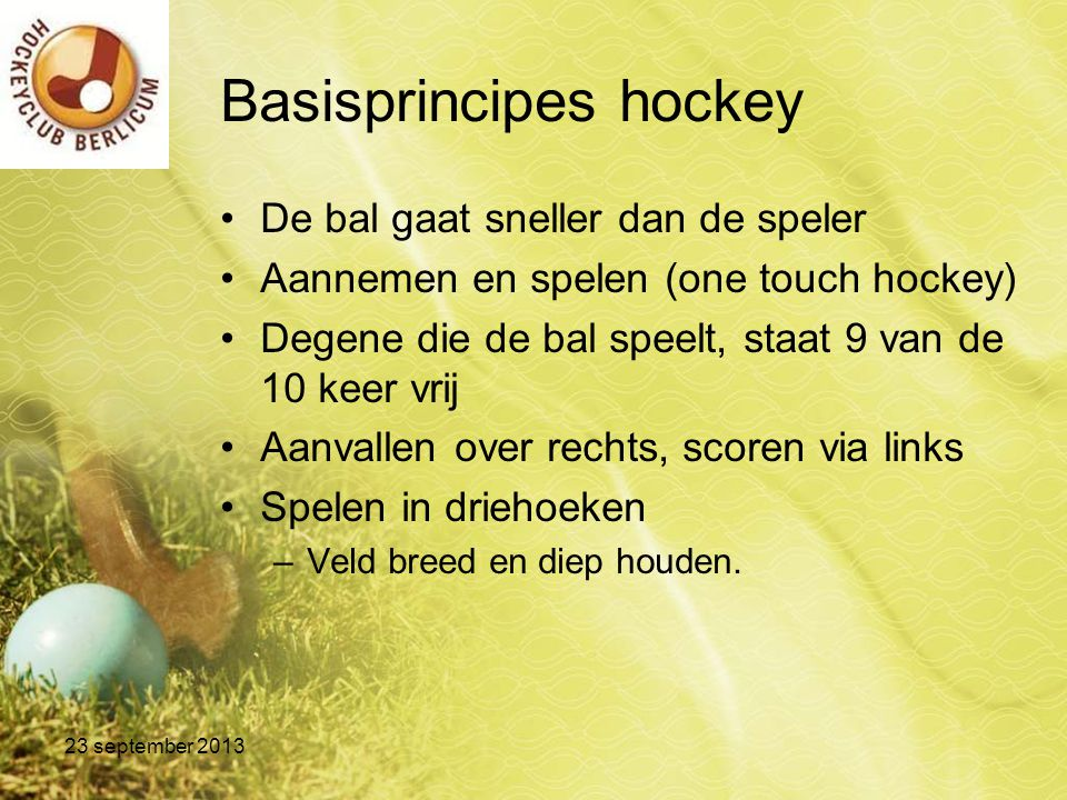 Basisprincipes hockey