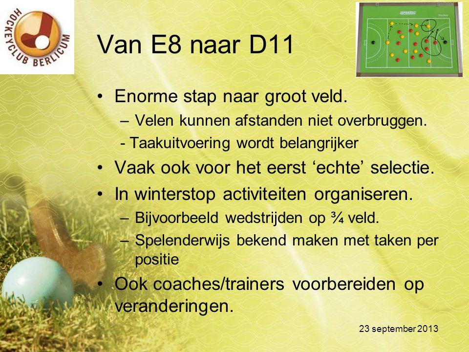 Van E8 naar D11 Enorme stap naar groot veld.