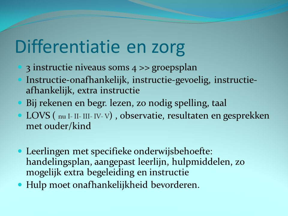 Differentiatie en zorg