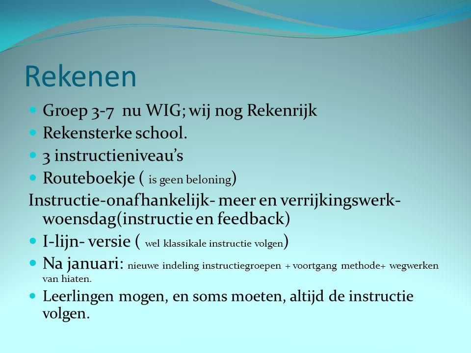 Rekenen Groep 3-7 nu WIG; wij nog Rekenrijk Rekensterke school.