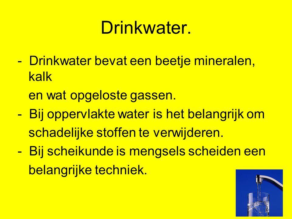 Drinkwater. - Drinkwater bevat een beetje mineralen, kalk