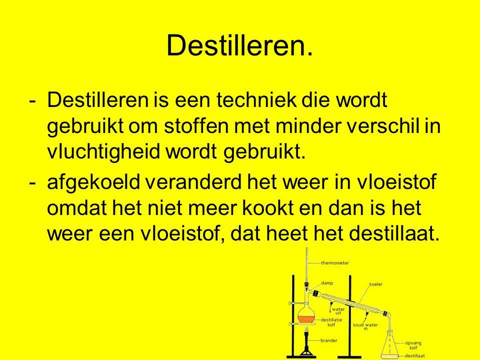 Destilleren. Destilleren is een techniek die wordt gebruikt om stoffen met minder verschil in vluchtigheid wordt gebruikt.