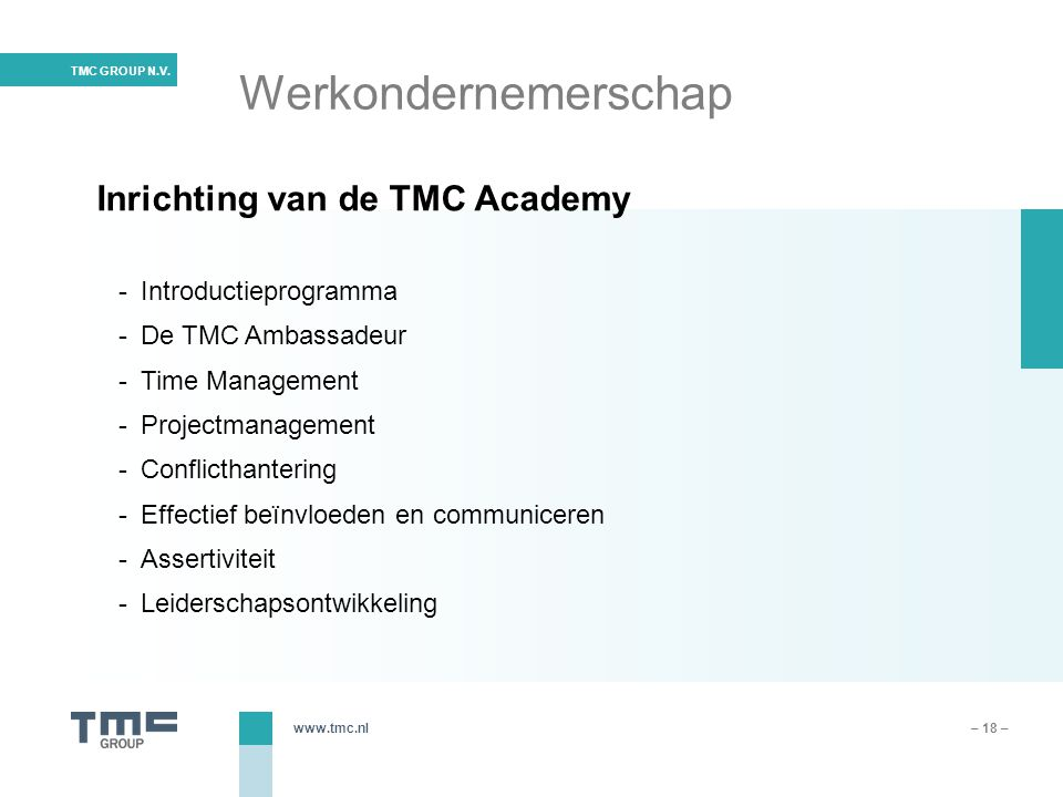 Werkondernemerschap Introductieprogramma De TMC Ambassadeur