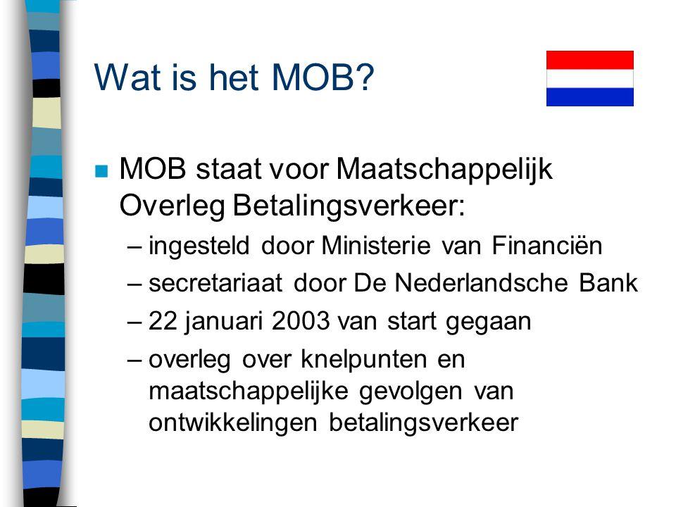 Wat is het MOB MOB staat voor Maatschappelijk Overleg Betalingsverkeer: ingesteld door Ministerie van Financiën.
