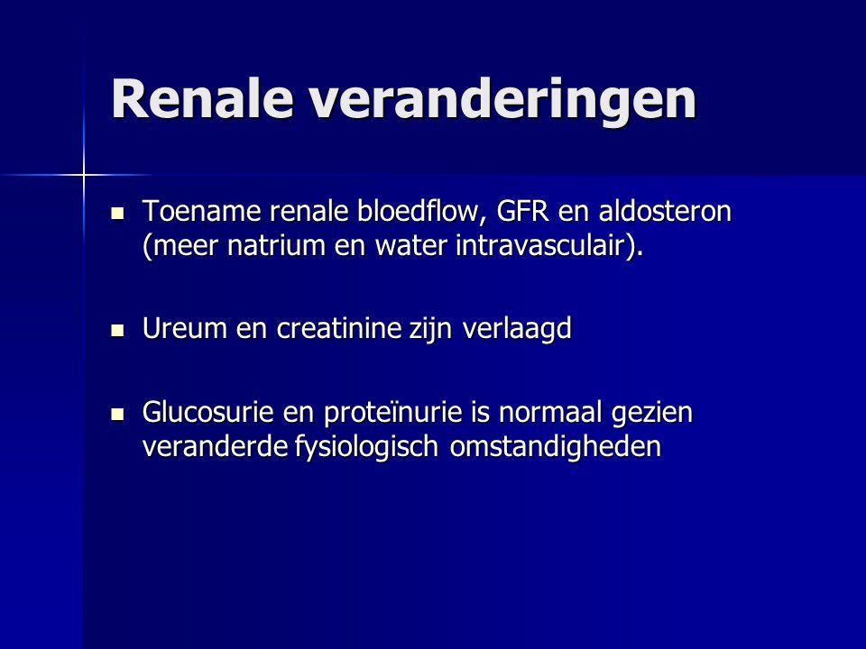 Renale veranderingen Toename renale bloedflow, GFR en aldosteron (meer natrium en water intravasculair).