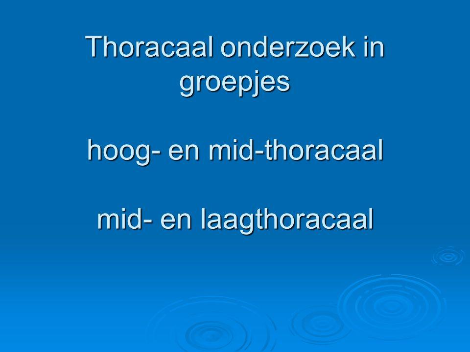 Thoracaal onderzoek in groepjes hoog- en mid-thoracaal mid- en laagthoracaal