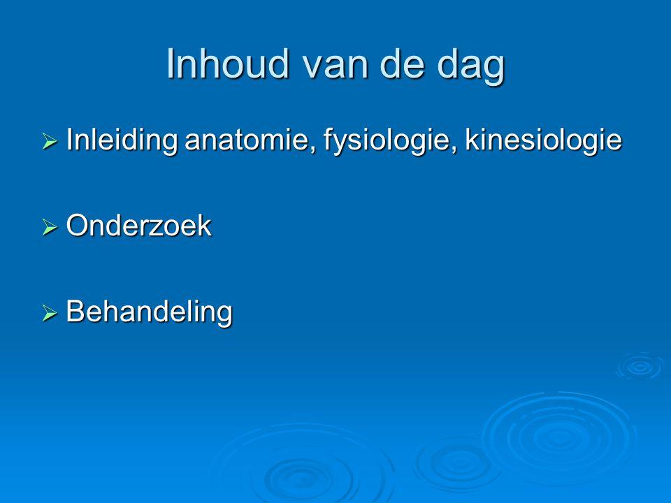 Inhoud van de dag Inleiding anatomie, fysiologie, kinesiologie