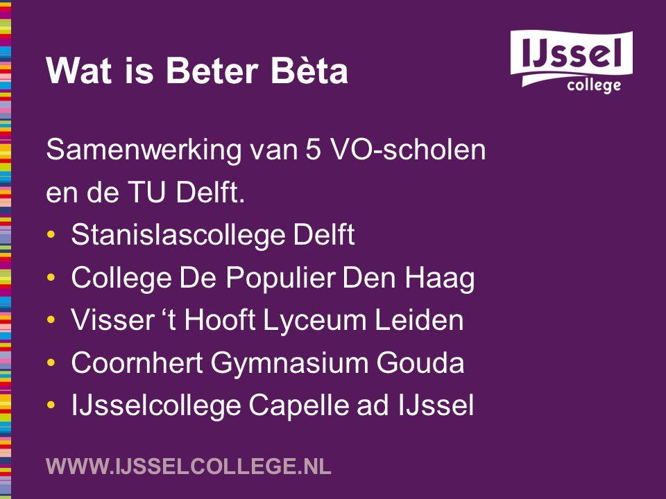 Wat is Beter Bèta Samenwerking van 5 VO-scholen en de TU Delft.