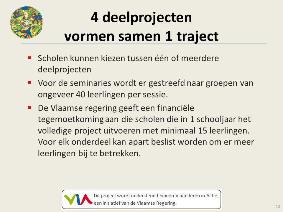 4 deelprojecten vormen samen 1 traject