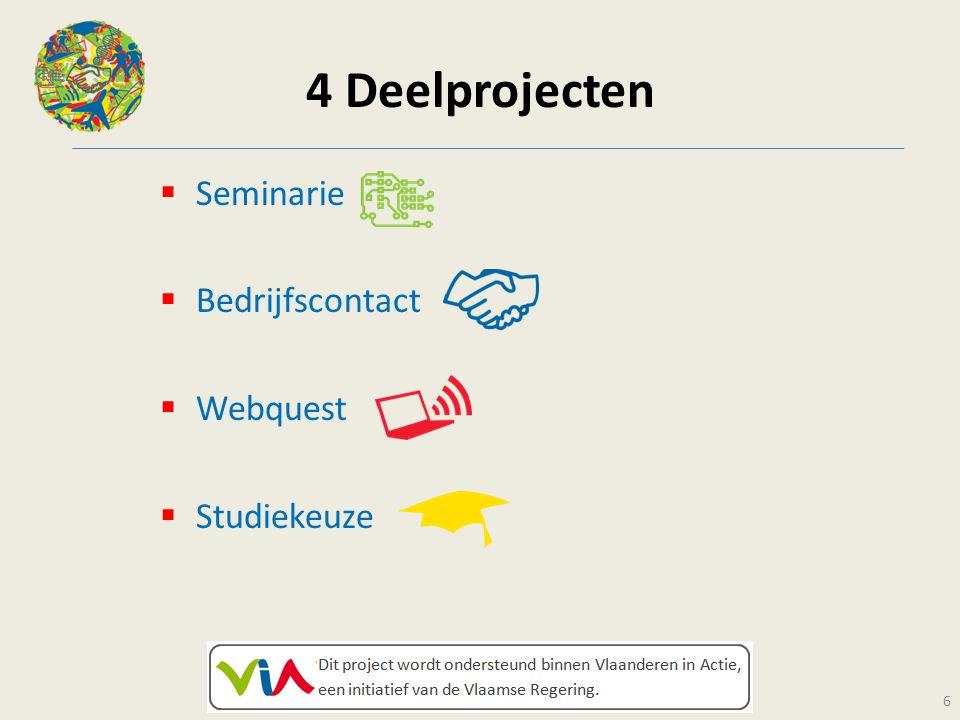 4 Deelprojecten Seminarie Bedrijfscontact Webquest Studiekeuze